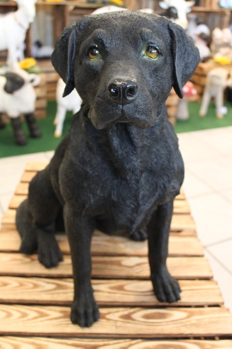 Figur LABRADOR Hund schwarz 52cm lebensecht handbemalt wetterfest Garten Deko